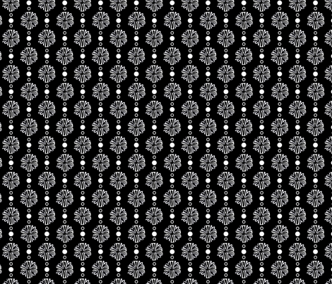 White on black flowers fabric by gsonge on Spoonflower - custom fabric