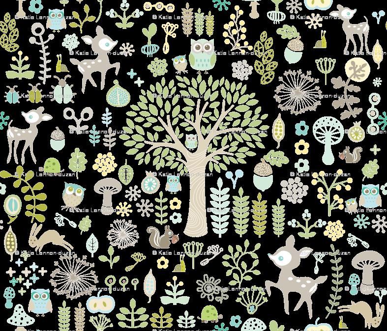 Animal Print Wallpaper Woodland Stag Rabbit Trees Flowers Grey ...