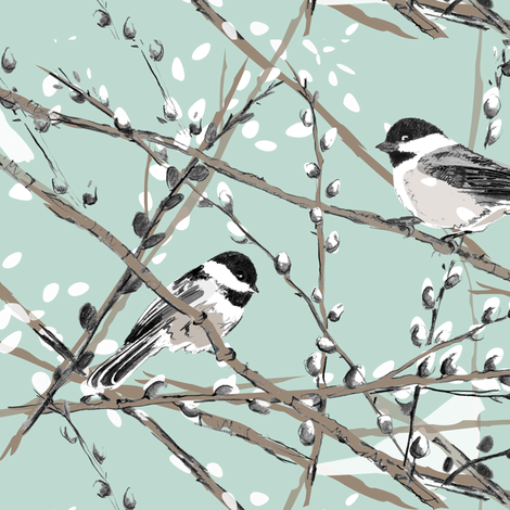 Chickadees and Pussywillows (green background) fabric by twobloom on Spoonflower - custom fabric