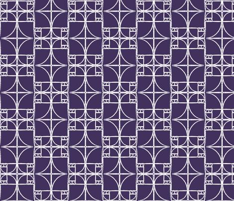 Dark Eggplant Purple Fibonacci Spiral fabric by pantsmonkey on Spoonflower - custom fabric