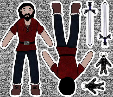 Warrior: A Guy's Doll fabric by pond_ripple on Spoonflower - custom fabric