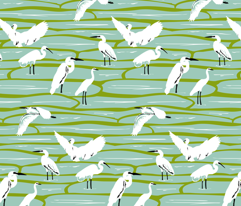Egrets in the Rice Fields fabric by fussypants on Spoonflower - custom fabric