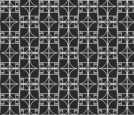 Black Fibonacci Spiral fabric by pantsmonkey on Spoonflower - custom fabric
