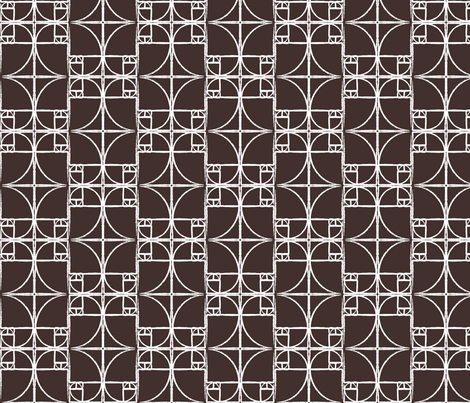Darkest Chocolate Brown Fibonacci Spiral fabric by pantsmonkey on Spoonflower - custom fabric