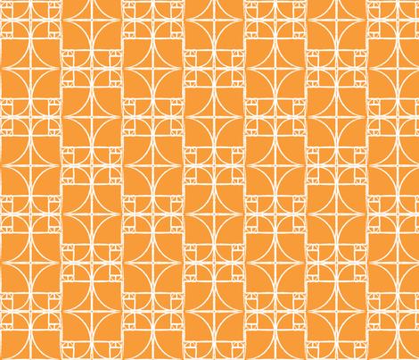 Citrus Orange Fibonacci Spiral fabric by pantsmonkey on Spoonflower - custom fabric