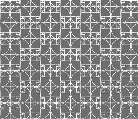 Charcoal Fibonacci Spiral fabric by pantsmonkey on Spoonflower - custom fabric