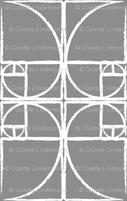 Medium Charcoal Fibonacci Spiral
