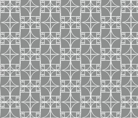 Medium Charcoal Fibonacci Spiral fabric by pantsmonkey on Spoonflower - custom fabric
