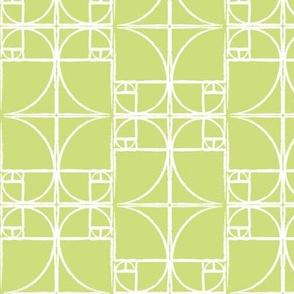 Pale Spring Green Fibonacci Spiral