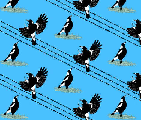 Magpies: learn to fly + food call (limited palette) by Su_G fabric by su_g on Spoonflower - custom fabric
