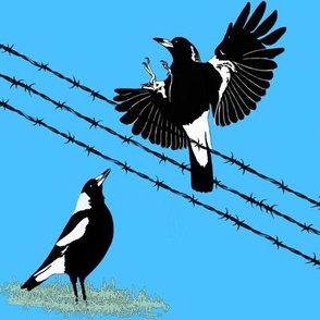 Magpies: learn to fly + food call (limited palette) by Su_G