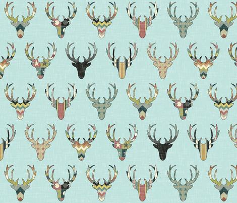 vintage deer head aqua fabric by scrummy on Spoonflower - custom fabric
