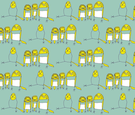 Budgie Family Blue-Green fabric by heartfullofbirds on Spoonflower - custom fabric