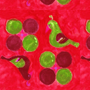 birds and balls - red, green, maroon