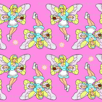 coffee fairy on pink
