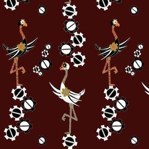 Steampunk Birds and Gears - Burgundy