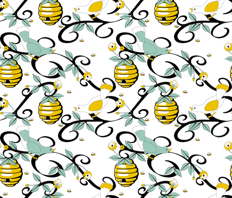All About the Birds and the Bees - White fabric by inscribed_here on Spoonflower - custom fabric