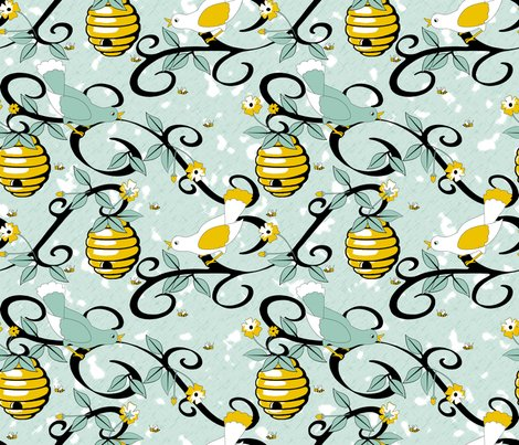 Rrall_about_the_birds_and_the_bees_-_restricted_colours__-_spoonflower_blue_shop_preview