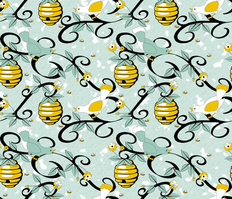 All About the Birds and the Bees - Spoonflower Blue fabric by inscribed_here on Spoonflower - custom fabric