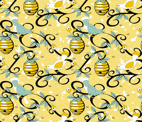 All About the Birds and the Bees - Yellow fabric by inscribed_here on Spoonflower - custom fabric
