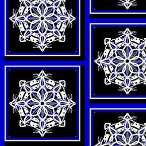 Midnight Snow Snowflake Squares
