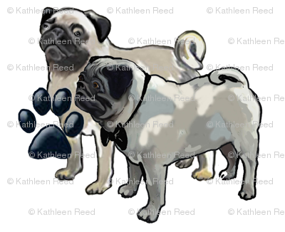 Two pugs dog fabric