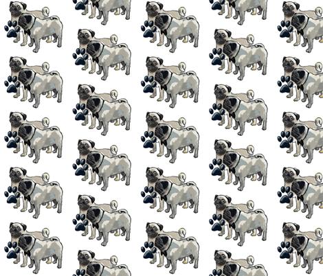 Two pugs dog fabric fabric by dogdaze_ on Spoonflower - custom fabric