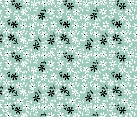 Hexy Flower (blue) fabric by mondaland on Spoonflower - custom fabric
