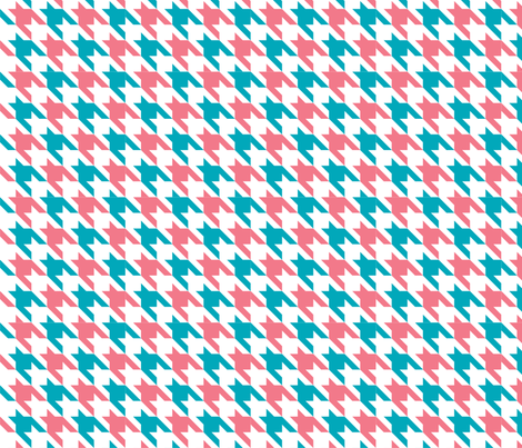 Houndstooth Peacock Coral fabric by honey&fitz on Spoonflower - custom fabric