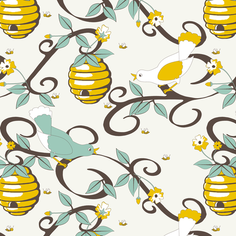 All About the Birds and the Bees - SoFt fabric by inscribed_here on Spoonflower - custom fabric