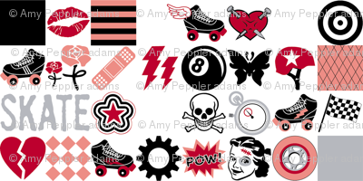 Roller Derby (Mini) || roller skate skating hearts girls grrl punk emo sports tattoo
