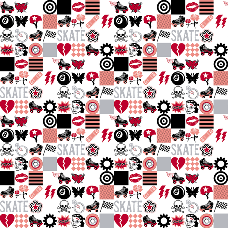 Roller Derby (Mini) || roller skate skating hearts girls grrl punk emo sports tattoo fabric by pennycandy on Spoonflower - custom fabric