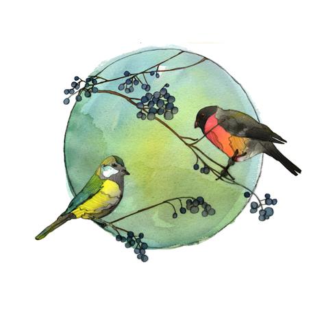 Winter Birds fabric by sandeehjorth on Spoonflower - custom fabric