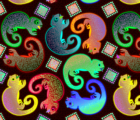 Colorful Chameleons fabric by glimmericks on Spoonflower - custom fabric