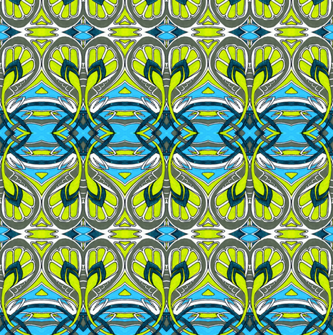 Crocus Spring (cyan, gray, lime) fabric by edsel2084 on Spoonflower - custom fabric