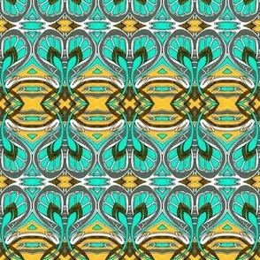 Crocus Spring (aqua/gold)
