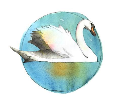 Winter Swan fabric by sandeehjorth on Spoonflower - custom fabric