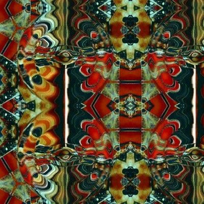 Kaleidoscope in orange, red and blue-green