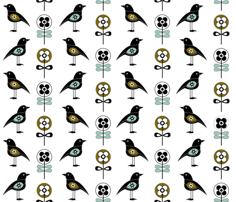 Scandi_birds3 fabric by peppermintpatty on Spoonflower - custom fabric