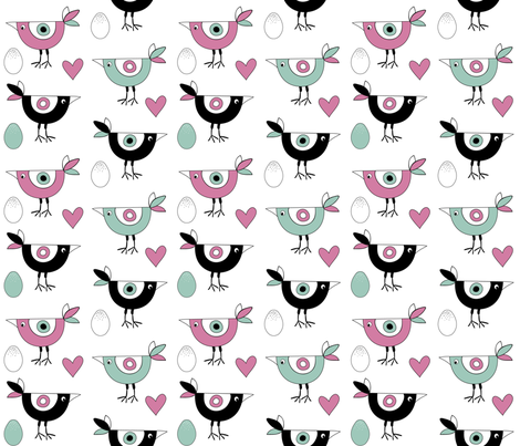 birds_hearts_eggs_pink fabric by peppermintpatty on Spoonflower - custom fabric