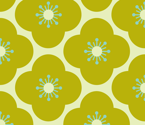 Bloom clouds - green / aqua - large scale fabric by kayajoy on Spoonflower - custom fabric
