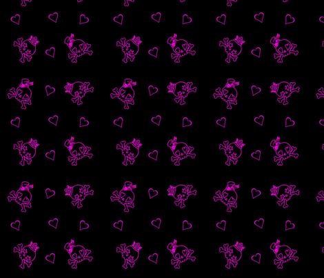 Cut Throat Cutie Skulls n Hearts Neon fabric by eerie_doll on Spoonflower - custom fabric