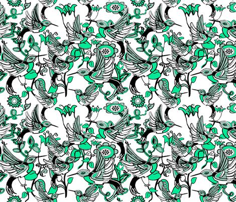 Hummingbird Heaven fabric by dogdaze_ on Spoonflower - custom fabric