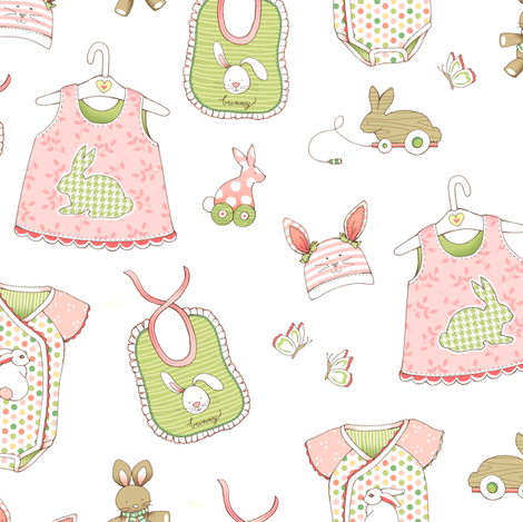 Bunnies for Baby - WHITE fabric by pattysloniger on Spoonflower - custom fabric