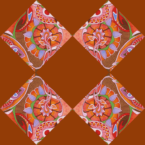 Art Nouveau blossums on diagonal checkerboard fabric by edsel2084 on Spoonflower - custom fabric