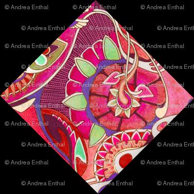 Art nouveau floral cheater squares (black background)