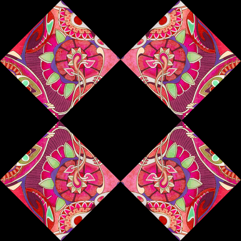 Art nouveau floral cheater squares (black background) fabric by edsel2084 on Spoonflower - custom fabric