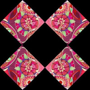 Art nouveau floral cheater squares (black background)