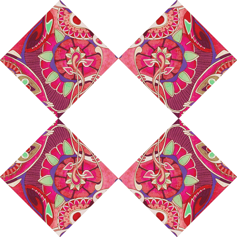 Diagonal cheater quilt floral squares alternated with white  fabric by edsel2084 on Spoonflower - custom fabric