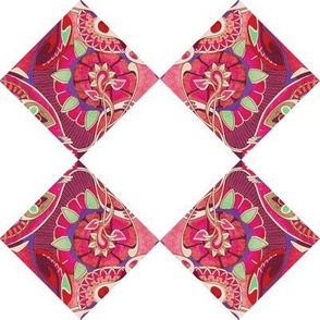 Diagonal cheater quilt floral squares alternated with white